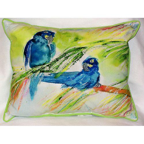 Two Blue Parrots 16x20 Outdoor Pillow Beach Decor Coastal Decor Nautical Decor