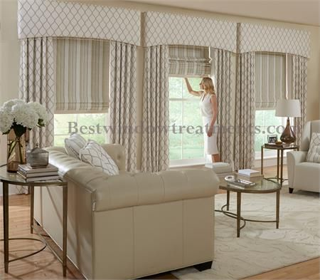 Custom Upholstered Cornices Style C2: in BWT or COM (Customers Own Material/Fabric) : classic style roman shade and side draperies   buy online at BestWindowTreatments.com