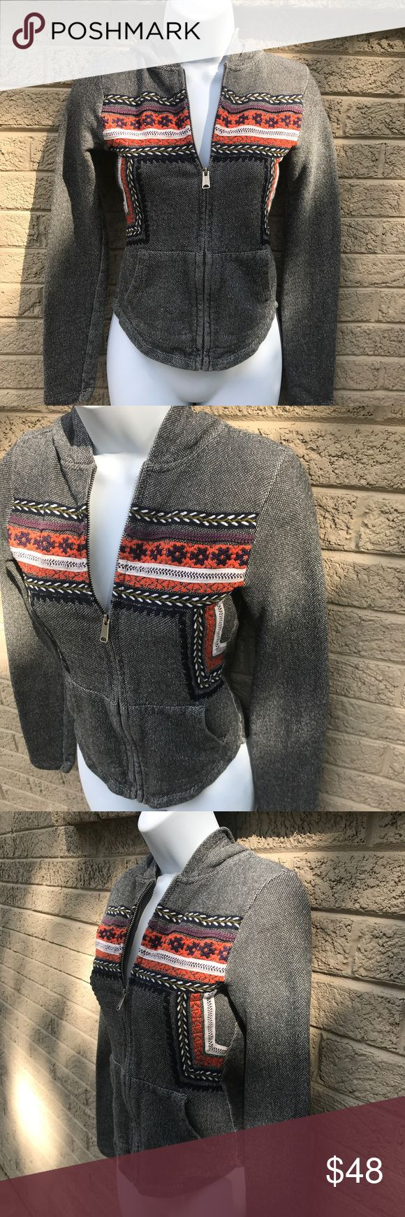 Lucky brand Aztec embroidered zip up hoodie Worn a couple times, great condition! Super cute! Lucky Brand Tops Sweatshirts & Hoodies