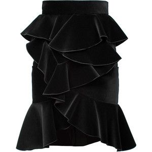 BALMAIN Velvet Flounced Skirt Black