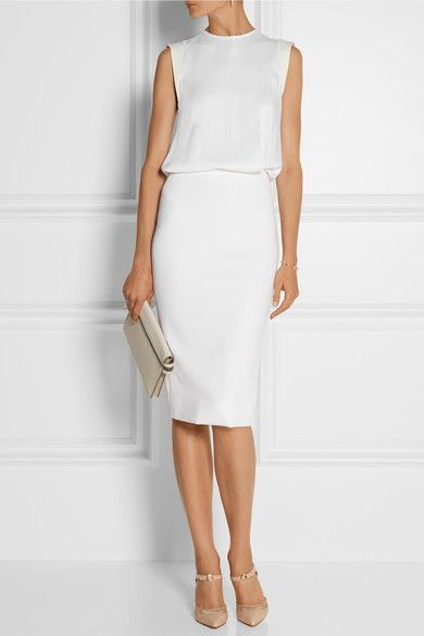 White matte-satin, off-white stretch-jersey Concealed snap and exposed two-way zip fastenings at back 86% viscose, 10% polyamide, 4% elastane; skirt lining: 82% viscose, 18% acetate; trim: 50% wool, 50% silk Dry cleanSmall to size. See Size & Fit tab.
