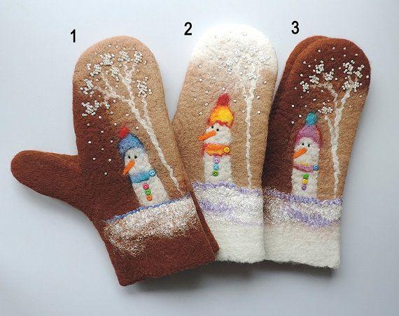 Handmade Felted Mittens, Wool Mittens, snowman