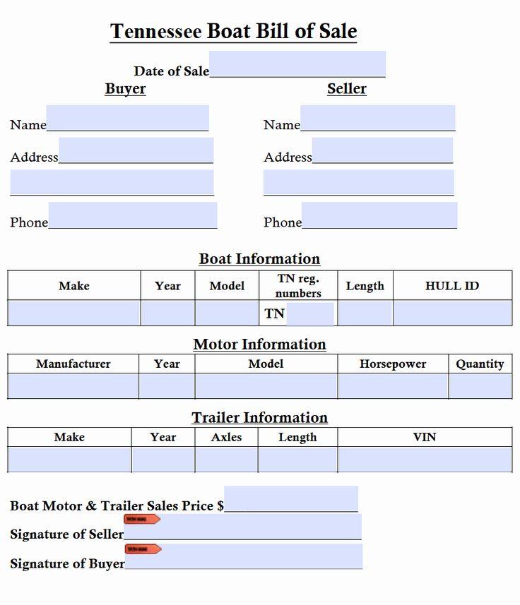 Boat bill of sale form elegant free tennessee boat bill of