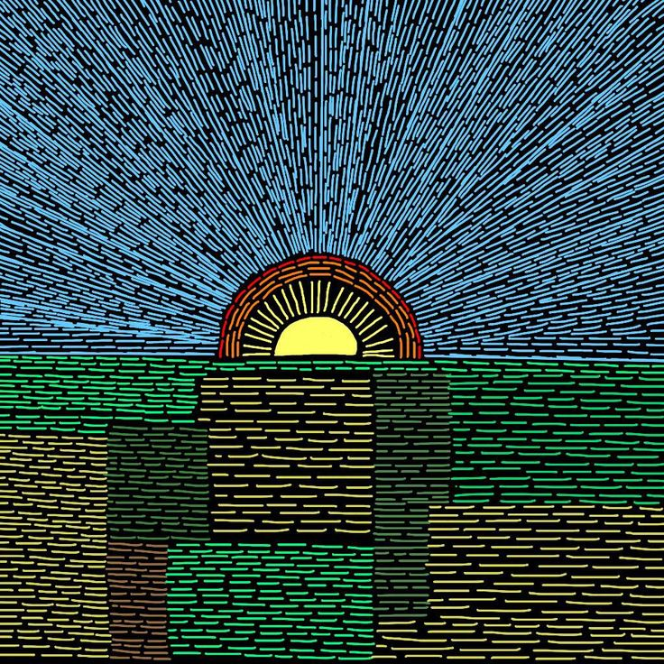 Sunrise over Fields. Digital drawing.