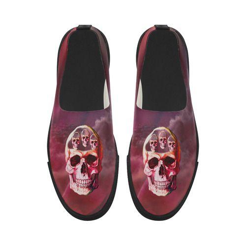 Funny Skull Apus Slip-on Microfiber Women's Shoes (Model 021)