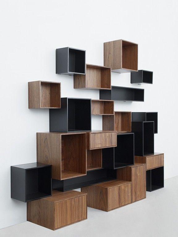 Étagères de Rangement modulables design CUBIT par MYMITO...  wooden box shelving.