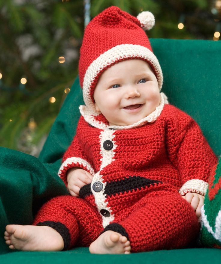 Infant Santa Suit & Hat Free Crochet Pattern- cute pattern, could change up color combo for a different look...