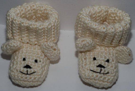 booties looks like puppy Ivory in colour very by LovelyBabycrochet, $15.00