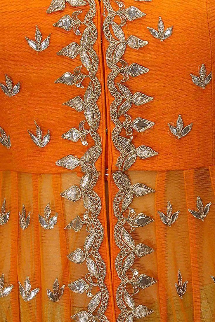 Tangerine gota patti work rukhvika jacket with sage green shorts at Pernia's Pop Up Shop.
