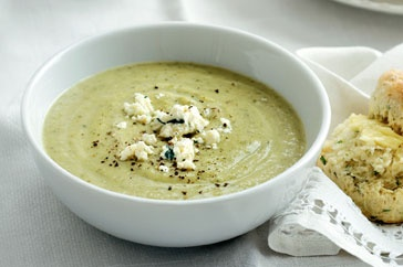 Broccoli, zucchini and blue cheese soup.