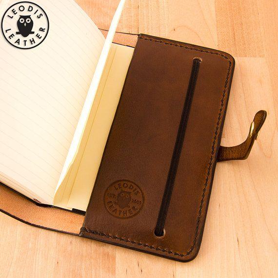Leather Moleskine Cover 9x14cm Notebook Walnut by LeodisLeather