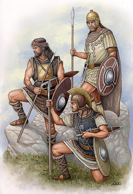 IBERIA - Celt Iberian warriors in Carthaginian service. The Spanish made up a significant portion of the Carthaginian Army most notably in the second Punic War. Illustration by Angel García Pinto