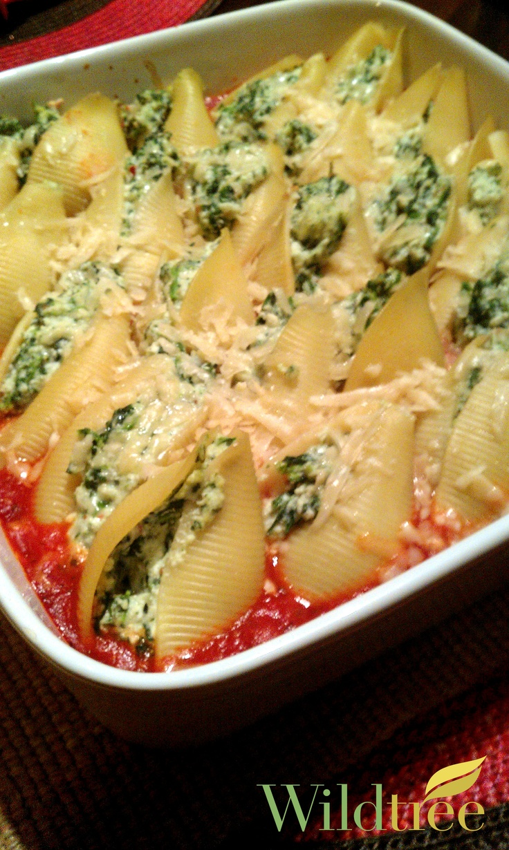 Spinach and Ricotta Stuffed Shells!    www.Facebook.com/wildtreeofficial