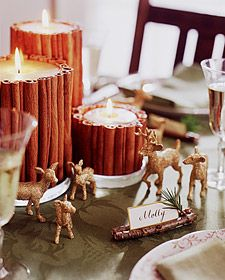 Christmas Table -- I wonder if I could DIY some cinnamon stick candles like that, with hot glue?Ideas, Plastic Animal, Cinnamon Sticks, Christmas Tables, Christmas Candles, Cinnamon Candles, Christmas Decor, Places Cards, Tables Decor
