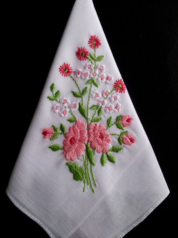 Embroidered vintage hanky vintage handkerchief by HooksAndRoses, $15.00