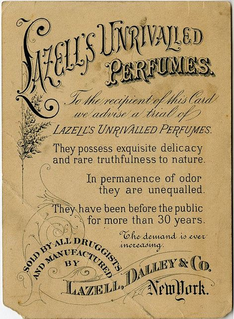 Lazell's Unrivalled Perfumes - Ephemera torn paper french printable free french label vintage paper