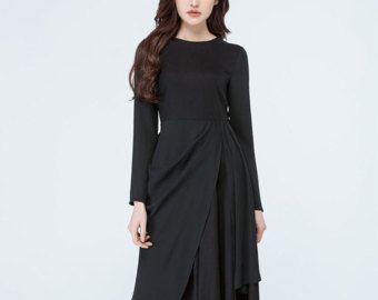 Blauwe jurk maxi jurk linnen kleding casual kleding