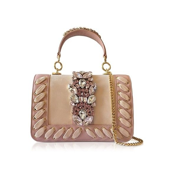 Gedebe Handbags Bibi Crocus Suede Plot Satchel Bag w/Crystals ($550) ❤ liked on Polyvore featuring bags, handbags, pink, suede purse, beige purse, suede handbags, beige handbags and chain-strap handbags