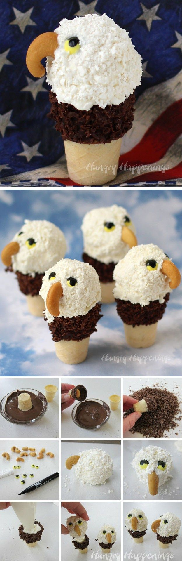 Create your own awe inspiring eagles for your July 4th celebrations. These Mini Ice Cream Cone Eagles coated in shredded Candy Melts are sure to be the hit of your patriotic party.