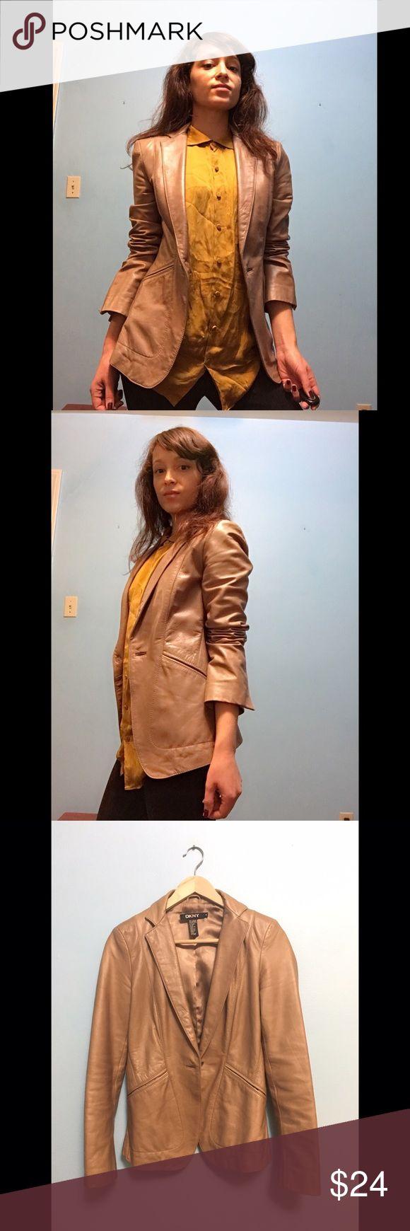 DKNY leather blazer Slim DKNY tan leather blazer. Tight elegant silhouette. Slightly distressed. DKNY Jackets & Coats Blazers