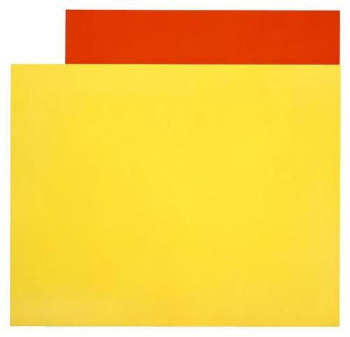 Yellow Relief Over Red (2004). Ellsworth Kelly (b1923) is an American painter, sculptor and printmaker. He was one of the major practitioners of abstract art in the USA after World War II; as early as the 1950s he developed an individual approach that influenced the course of Minimal art, colour field painting, hard-edge painting and Post-painterly Abstraction without becoming fully a part of any of these movements.