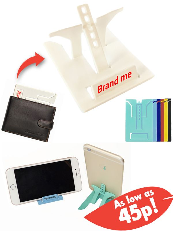 This Credit Card Phone Stand is a great way to keep in your customer's attention by providing a quirky and useful gift! #promo #phone #stand #tablet #gift