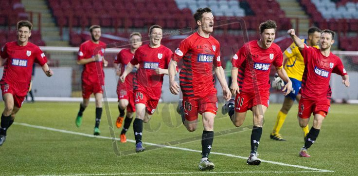 Queen's Park's David Galt leads the celebration of his wonder goal during the SPFL League One play-off game between Clyde and Queen's Park