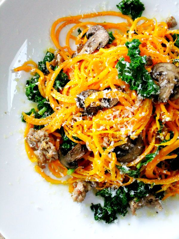 """Butternut Squash """"Noodles"""" With Sausage (I use chicken sausage ..."""