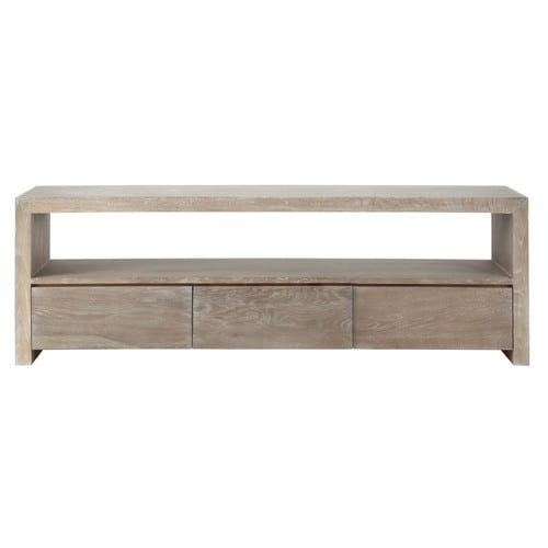 Baltic - Greyed solid oak TV unit W 160cm