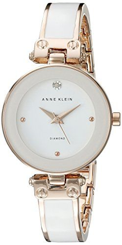 Now available Anne Klein Women's AK/1980WTRG Diamond-Accented Dial White and Rose Gold-Tone Bangle Watch