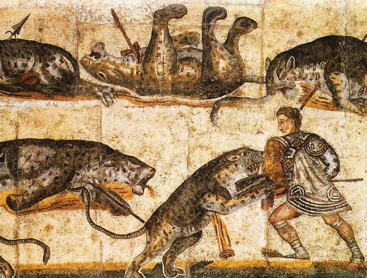 MOSAICO. Combates entre gladiadores y fieras. Anónimo Romano. Galería Borghese. Roma. Italia.