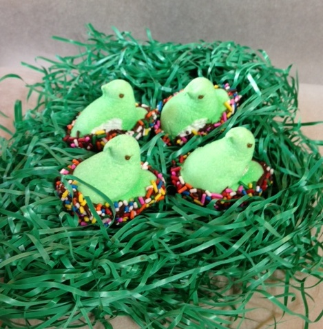 Marshmallow Peeps, dipped in chocolate and covered in sprinkles!  Oh so sweet!