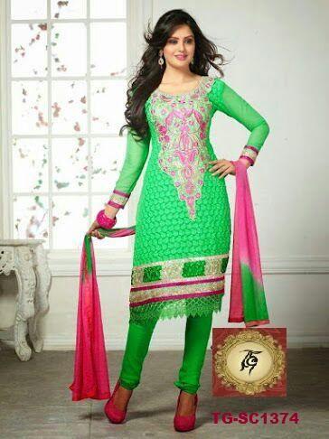 Green Karachi work salwar kameez