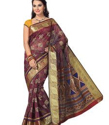 Buy Blue - Maroon printed cotton saree with blouse south-indian-saree online