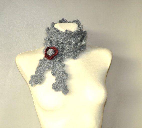 Crochet Scarf Crochet Grey Scarf Minimalist Scarf by aboutCRAFTS
