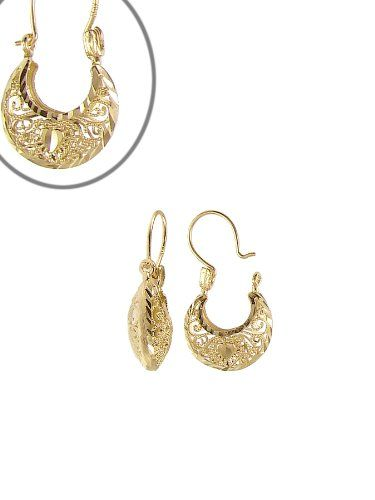14k Yellow Gold Clic Filigree Style Basket Design Small Hoop Earring With Sparkly Cuts