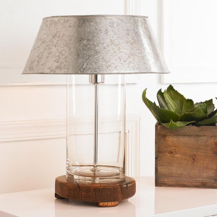 Rustic Modern Galvanized Table Lamp Cylinder Can Be Filled With Rocks Sand Etc