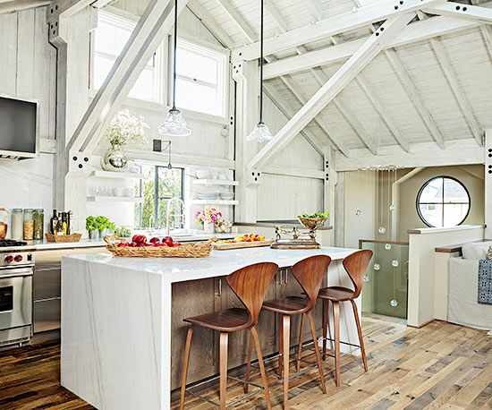 Here's a look at how you can use weathered and refined furnishings, fixtures, and finishes to create modern rustic spaces.