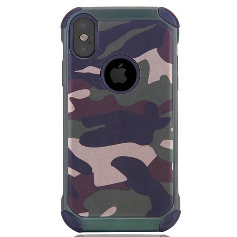 For iPhone X Camouflage Pattern PC + TPU Combination Case (Army Green)