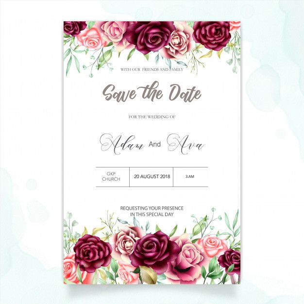 Beautiful Wedding Card With Watercolor Background Vector Premium