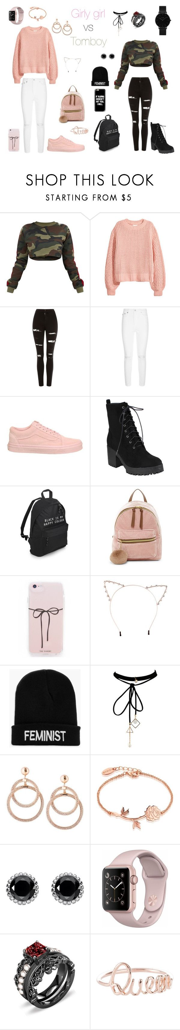 """""""Girly girl vs Tomboy"""" by melanierosec-1 on Polyvore featuring H&M, Topshop, AG Adriano Goldschmied, Vans, T-shirt & Jeans, Cara, Boohoo, WithChic, Disney and Thomas Sabo"""