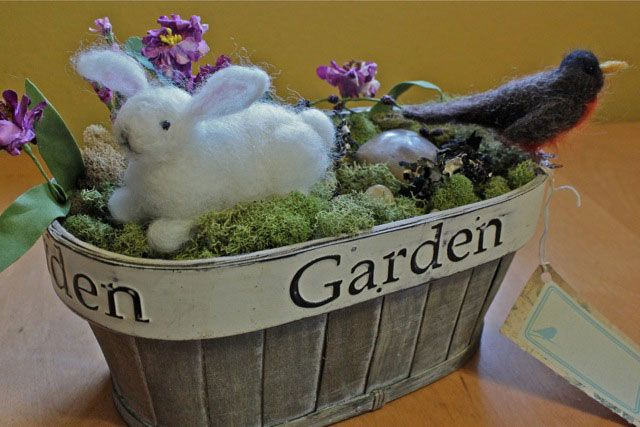 Lovely spring needle felted centerpiece with bunny and bird | Living Felt