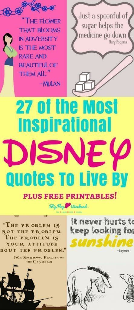 These 27 inspirational Disney quotes, collected from Disney movies and Walt Disney himself, will inspire and motivate you in the most magical way.#Disney #quotes #quotestoliveby #disneyquotes