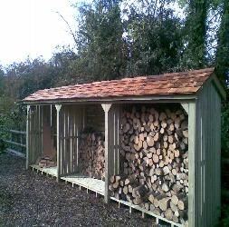 Pitched roof wood storage