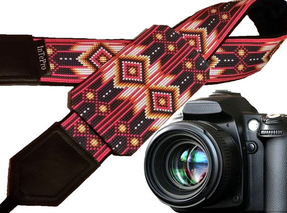 Camera strap. Ethnic Camera strap. DSLR Camera Strap. Camera accessories. Inspired by American native.  Please note that this is not a beaded camera strap.  More Native American inspired camera straps wait you here: https://www.etsy.com/shop/InTePro?ref=hdr_shop_menu&search_query=native  If you decide to choose another design camera strap with pocket, please take a look here: https://www.etsy.com/shop/InTePro/items?ref=hdr_shop_...