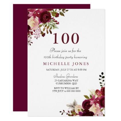 Elegant Burgundy Floral 100th Birthday Invitation