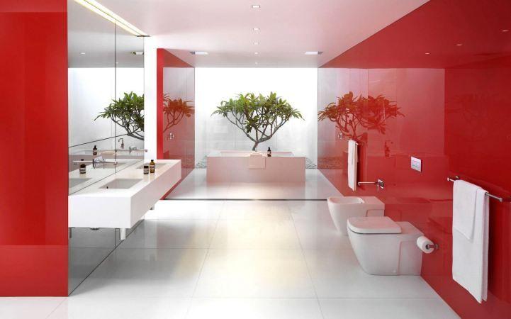 modern bathroom interior design with dominant red color scheme