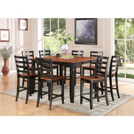 FAIR9-BLK-W 9 Piece pub table set- Square Counter Height Table and 8 Dining Chairs