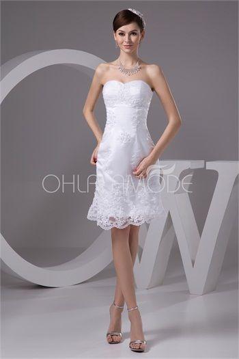 Robe de mariée civil pas cher courte col en coeur ornée d´appliques