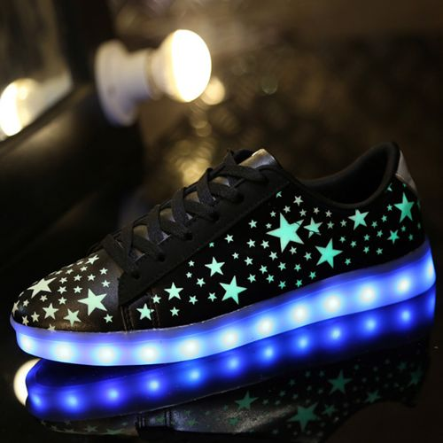 Black Adult Light Up Shoes Stars